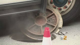 Manhole Cover Explodes Under MTA Bus