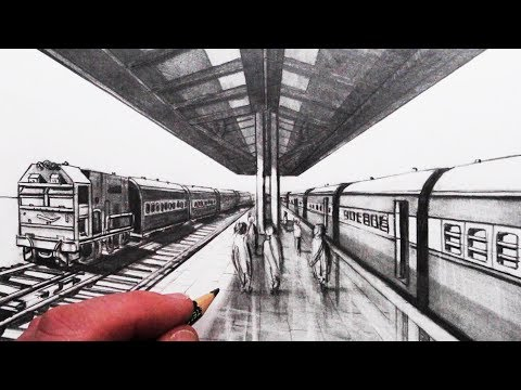 How to Draw 1-Point Perspective: Train Tracks, Train and Platform: Narrated