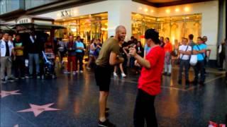 LAのストリートパフォーマーに割って入る日本人ダンサー Jonathan VS PEI