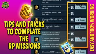 SECRET TIPS AND TRICKS TO COMPLETE RP MISSIONS - 2020   HOW TO REACH 100 RP FAST   PUBG MOBILE TIPS