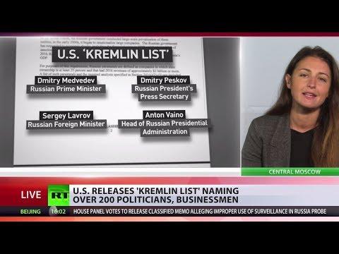 US treasury dept releases 'Kremlin List' featuring top Russian officials
