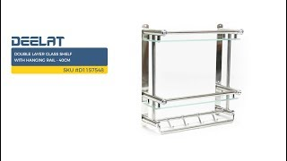 Double Layer Glass Shelf with Hanging Rail - 40cm SKU #D1157548