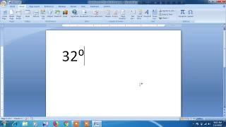 How to insert degree symbol in word