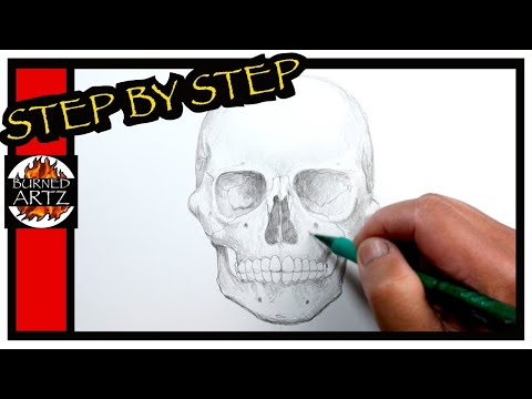 How to Draw a SKULL (Front View) STEP BY STEP