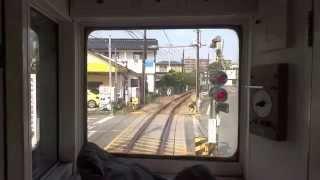 (熊本電鉄)藤崎宮前駅~黒髪駅の併用軌道区間 (先頭車両展望)