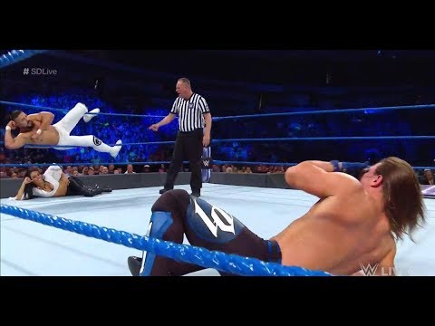 AJ Styles Vs Andrade Cien Almas Full Match HD || WWE Smackdown Live 17th July 2018