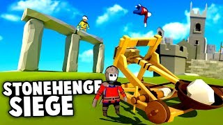 The ULTIMATE Castle SIEGE! Destroying STONEHENGE With A CATAPULT! (Human Fall Flat Coop Gameplay)