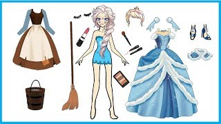 PAPER DOLL ELSA CINDERELLA QUIET BOOK HANDMADE DRESS UP FOR GIRLS ON CHRISTMAS PARTY