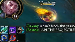 Rakan but he builds full AP so he can become a living Veigar Ultimate