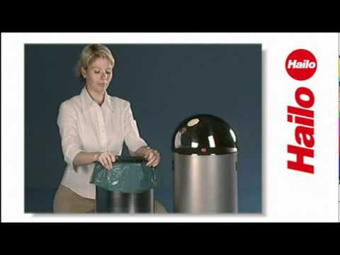 Abfalleimer Hailo KickMaxx 35, schwarz aus Stahlblech, 35 Liter
