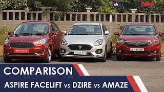 Ford Figo Aspire Facelift vs Maruti Suzuki Dzire vs Honda Amaze: Comparison Review | NDTV carandbike
