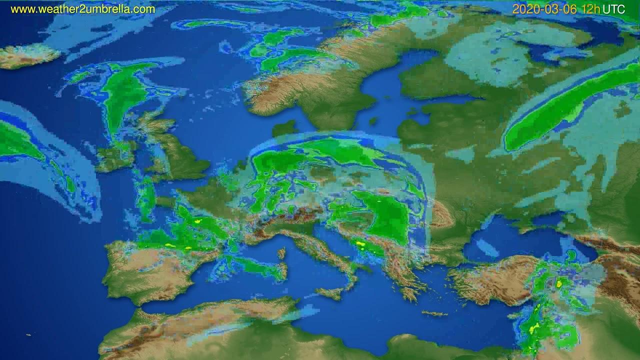 Radar forecast Europe // modelrun: 00h UTC 2020-03-06