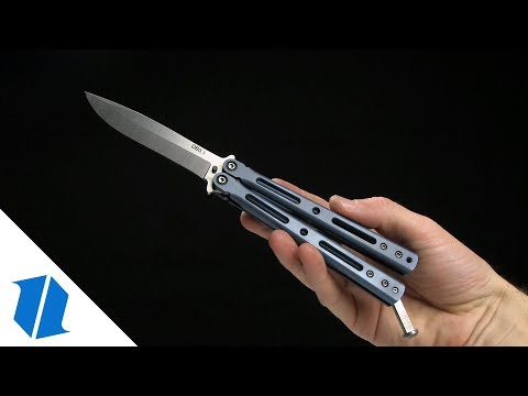 "DogBite Knives DB3.1 Balisong Butterfly Knife Purple Ti (4"" Stonewash)"