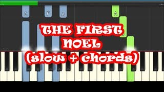 The First Noel Slow and Easy Piano Tutorial with Chords