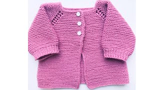 Easy knit baby cardigan sweater for newborn baby, How to knit #8