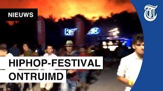 Festivalgangers vluchten voor megabrand
