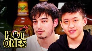 Hot Ones - Joji and Rich Brian Play the Newlywed Game While Eating Spicy Wings