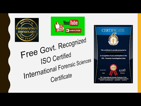 FREE Govt. Recognised Certificate    IFS    International Forensic ...