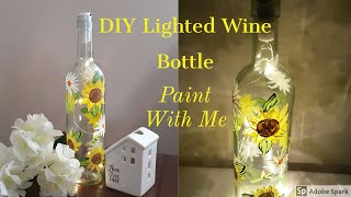 EASY PAINT WITH ME | LIGHTED WINE BOTTLE