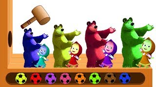 Masha and the Bear WOODEN FACE HAMMER XYLOPHONE Learn Colors Finger Family Nursery Rhymes