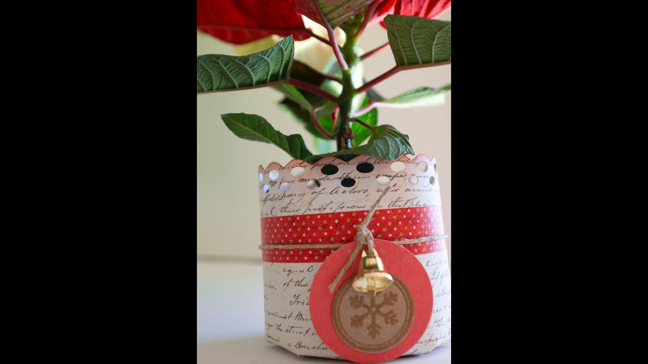 Cómo hacer una maceta para flor de Pascua. Puente a la Navidad 2012 día 1