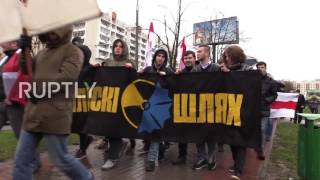 Belarus: Anti-nuclear protesters don 'onesies' in Minsk on anniv. of Chernobyl disaster