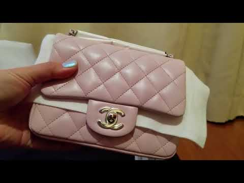 Unboxing New Spring 2018 Collection - Chanel Mini Square Light Pink  Lambskin - matching set e37bc244d9c39