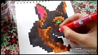 Рисуем Овчарку По Клеточкам~Как нарисовать собаку по клеткам~Видеоурок~Yulya Meow😻