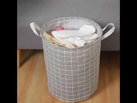 Корзина для белья /игрушек складная из водоотталкивающего хлопка с ручками и тканевой крышкой на шнурке Basket серая (BТ-32538) Video #1