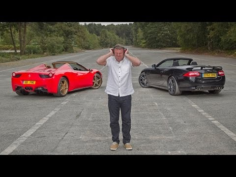 Ferrari 458 Spider vs Jaguar XKR-S Sound Off