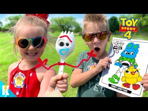 TOY STORY 4 Movie Art Challenge!!! DIY FORKY and 3 Marker WOODY! KIDCITY видео