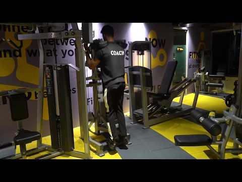 Inversion stance machine calf raises