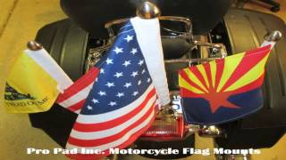 Pro Pad Solid 12 Tour Pack Flag Mount With 6 X 9 Flag for Harley
