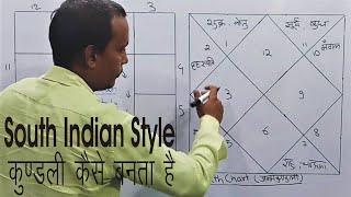 how is South Indian Style Horoscope made दक्षिण भारतीय शैली कुंडली कैसे बनाई जाती है