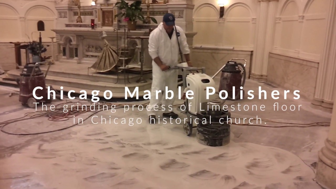 The grinding process of Limestone floor