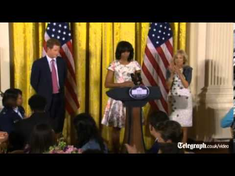 Michelle Obama welcomes Prince Harry to the White House