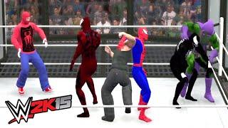 SPIDERMAN VS VENOM VS CARNAGE VS SPIDER MAN OLD VS GREEN GOBLIN VS SANDMAN | WWE 2K15