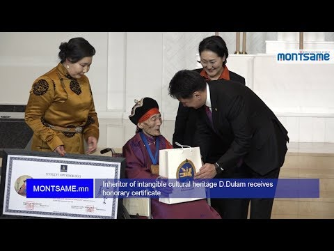 Inheritor of intangible cultural heritage D.Dulam receives honorary certificate