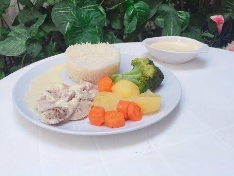 Pollo con arroz y verduras al vapor con Monsieur Cuisine