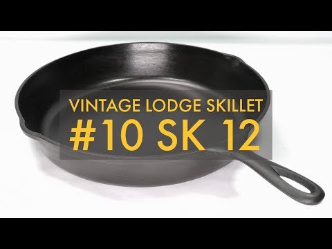 "Vintage Lodge Cast Iron Skillet #10 SK 12"" Frying Pan 3 Notch Heat Ring"