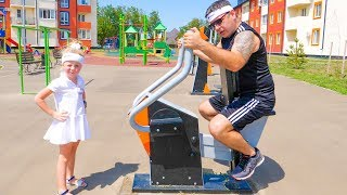Nastya and Papa playing fun and doing sport
