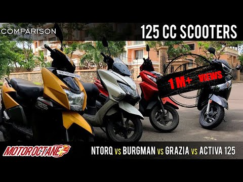 Motoroctane Youtube Video - Suzuki Burgman vs TVS NTorq vs Honda Activa 125 vs Grazia Comparison | Hindi | MotorOctane