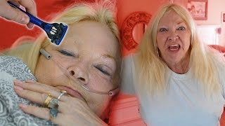SHAVING MY GRANDMOMS EYEBROW PRANK (PRANKS)