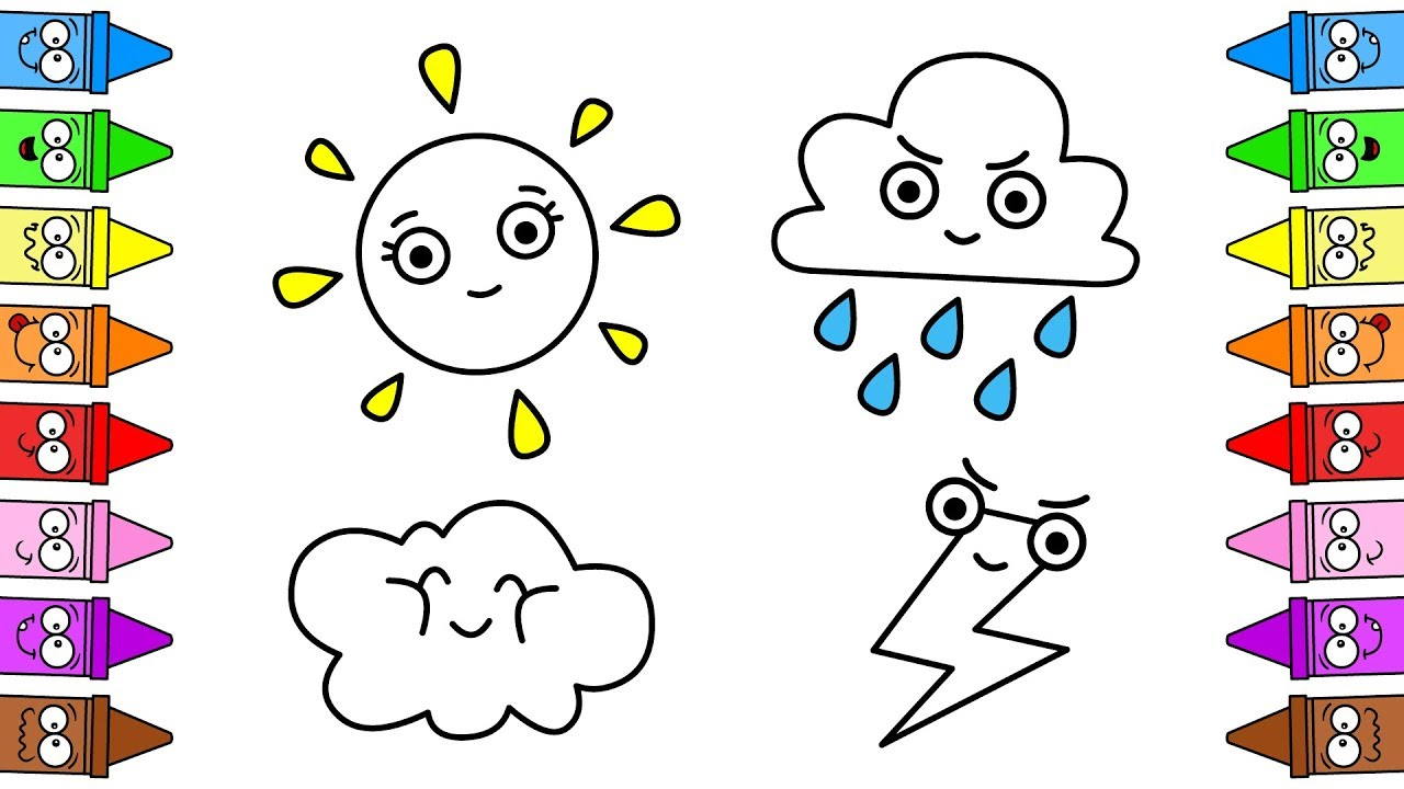 Weather Emoji For Kids Coloring Weather Weather Coloring