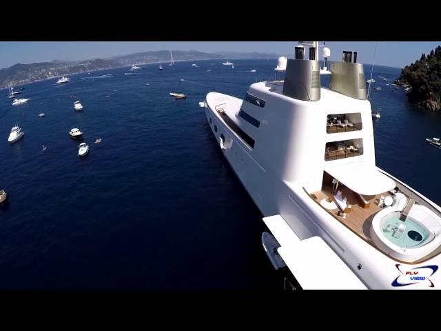 Mega Yacht A SF99 video drone Fly View - Portofino 11-07-2015