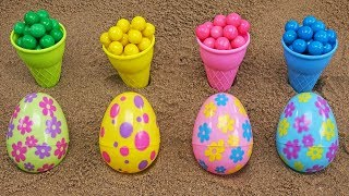 FILL IN ICE CREAM CONES WITH COLORED GUMBALLS! LEARN COLORS AND NUMBERS!
