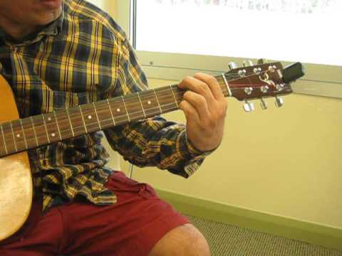 How to play guitar chords E minor, A7, C Major, and G.