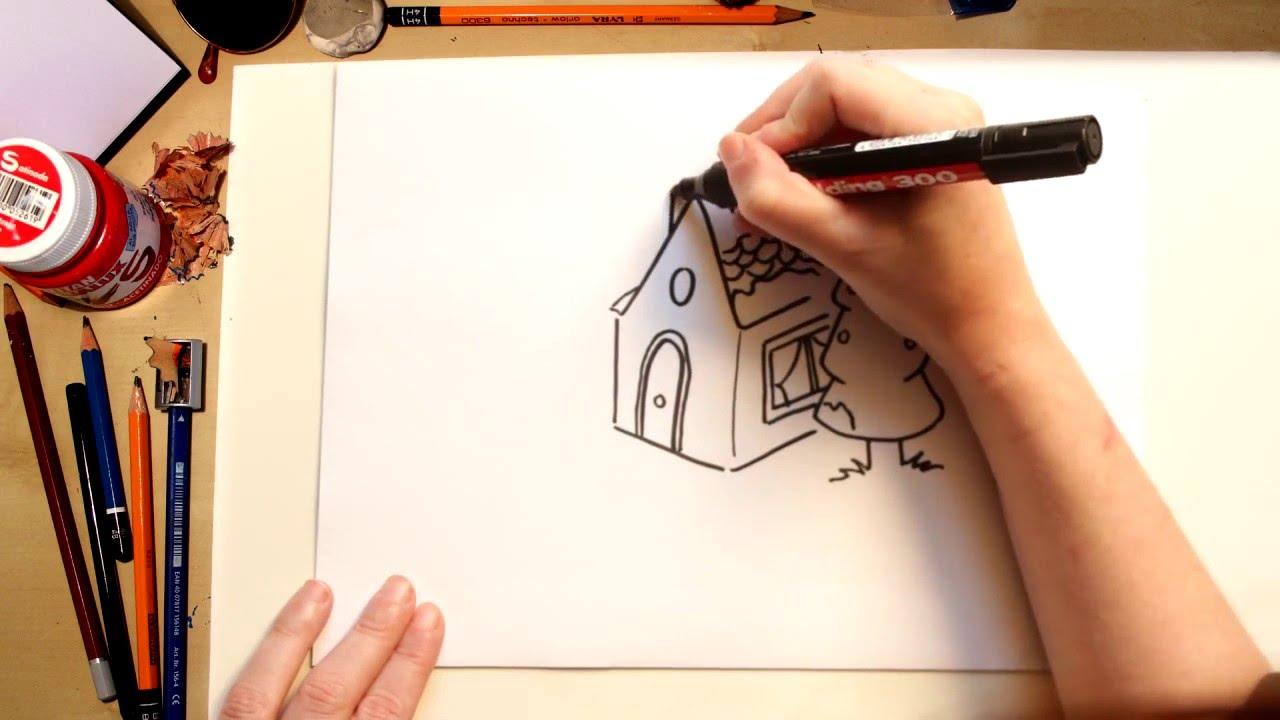 Como desenhar uma Casa na montanha - desenhos para crianças