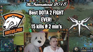 BEST DOTA 2 FIGHT EVER! 🏆 The International 2018 Virtus.pro vs Mineski (15 kills@2 min