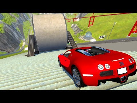 Large Wheel Stairs Falls Down Crushing Cars BeamNG DRIVE